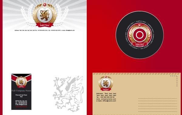 Plantilla de identidad corporativa en blanco y rojo - Descargar vector