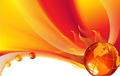 Brennende Kugel auf einem abstrakten Hintergrund