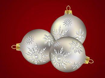 Bolas de Natal de prata com decoração de floco de neve