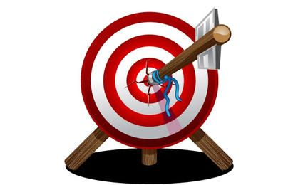 Wooden Target with Arrow