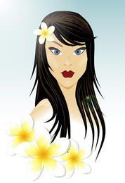 Chica oriental con flores blancas