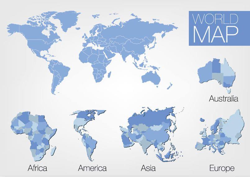 5 continente world map set descargar vector 5 continente world map set gumiabroncs Images