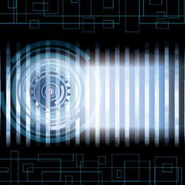 Círculo azul de alta tecnología abstracto barras