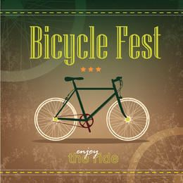 Retro Grungy Bicycle Fest Poster Template