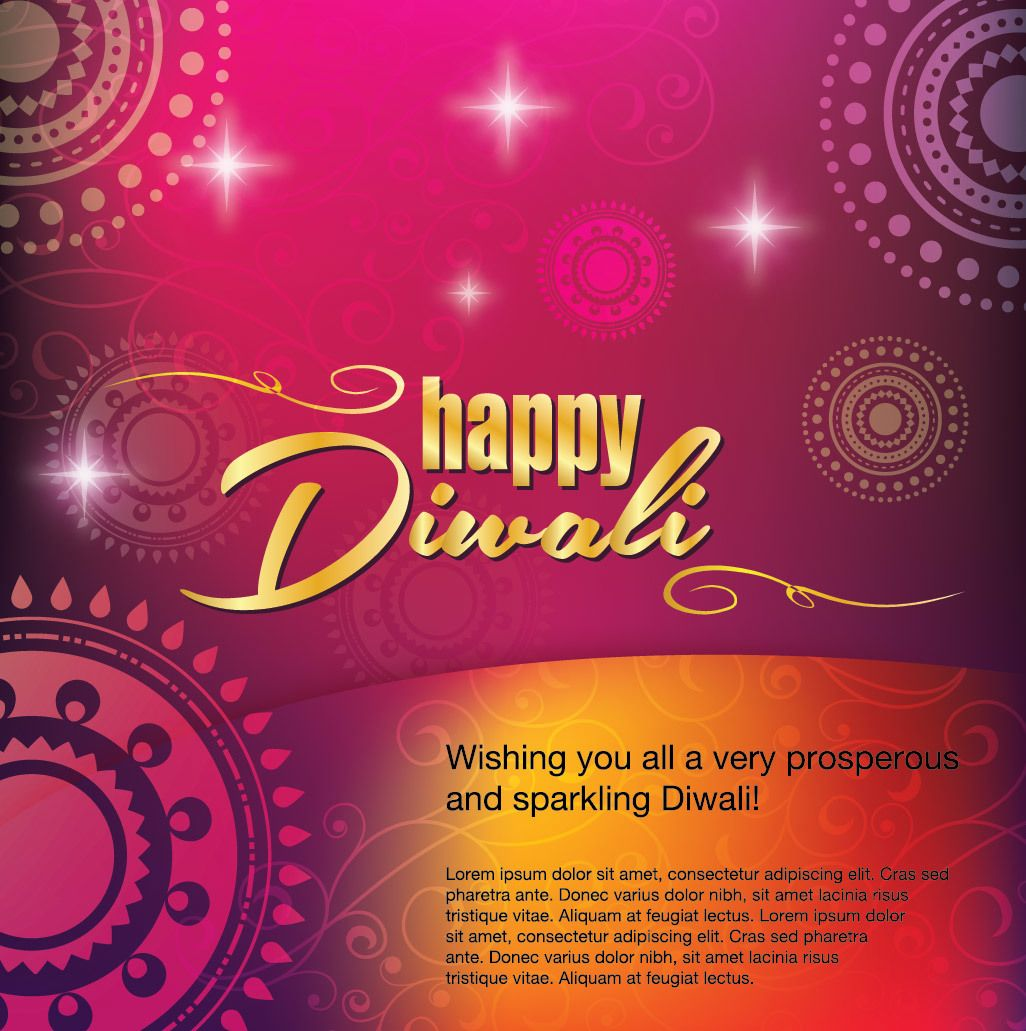 Happy Diwali Greeting Card Decoration Vector Download