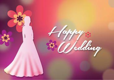 Fundo de casamento colorido de silhueta de noiva