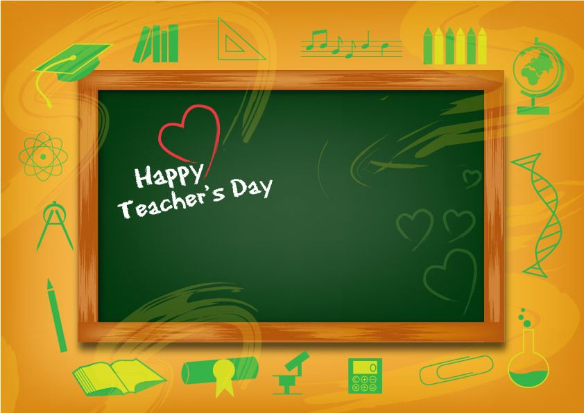 Funky Teachers Day Background With Chalkboard Vector