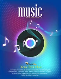 Colorful Musical Poster with Vinyl Record