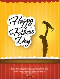 Father's Day Flyer Template with Stripy Background