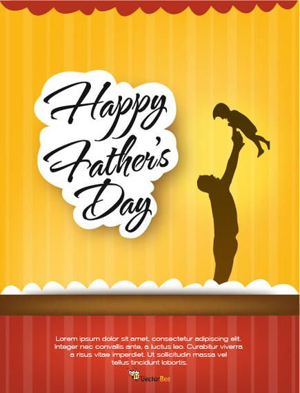 father s day flyer template with stripy background vector download