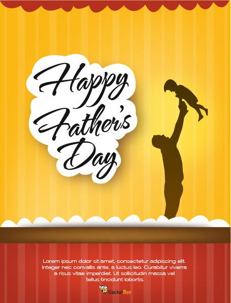 Father's Day Flyer Template with Stripy Background - Vector download