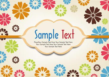 Colorful Small Floristic Background with Banner