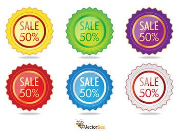 Colorful Glossy Starry Sale Label Pack
