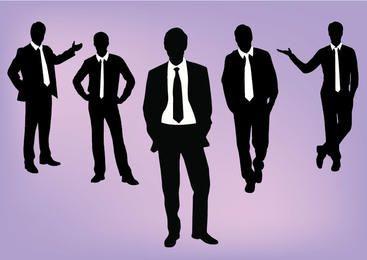 Pacote de pessoas dinâmicas corporativas de silhueta