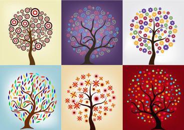 Pack de árvore com bela decoração abstrata
