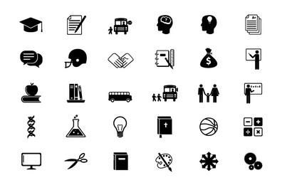 Black & White Educational Flat Icon Set
