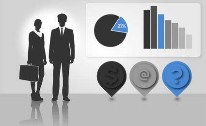 Silhouette Business People with Info-graphics
