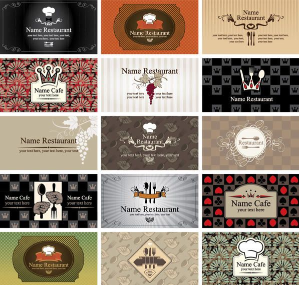Western style restaurant cafe business card set vector download western style restaurant cafe business card set reheart Image collections
