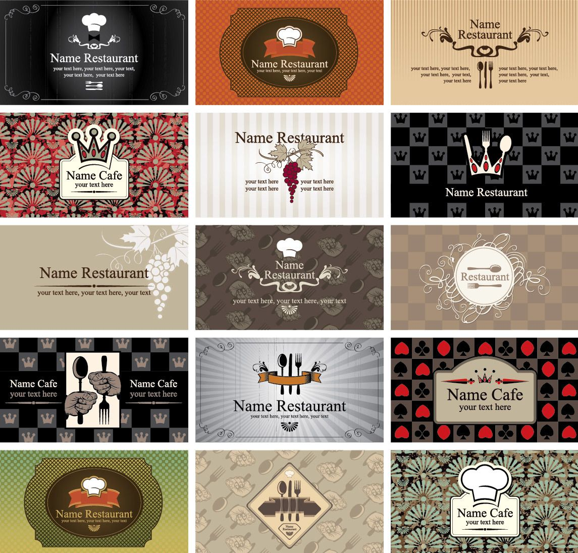 Western style restaurant cafe business card set vector download by vector sources svg reheart Gallery