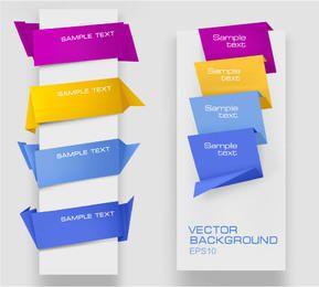 Conjunto de esquina de web de plantilla de estilo origami