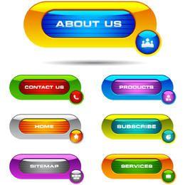 Conjunto de botones de web brillante colorido