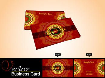 Red Business Card with Yellow Ornament