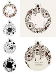 Conjunto de bolas ornamentais vintage florística