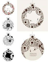 Conjunto de bolas ornamentales florísticos vintage