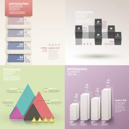 Conjunto de infográfico colorido luz estilo clássico