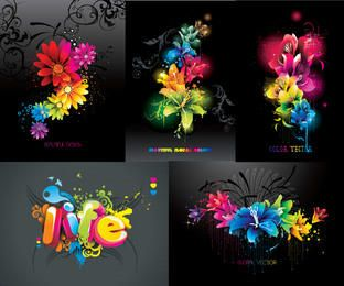 Creative Colorful Floral Background Pack