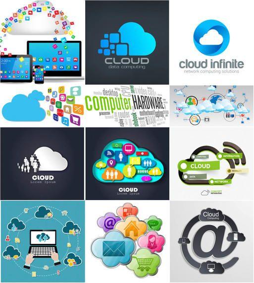 Infográfico de computação em nuvem e conjunto de plano de fundo