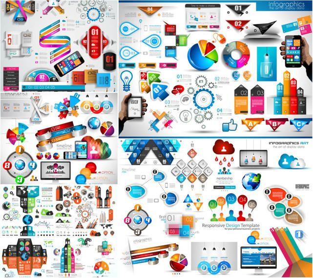 Plantilla de paquete de infografía creativa 3D brillante