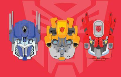 Conjunto de iconos de cabezas de transformers