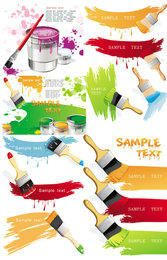 Colorful Painted Stain Set with Pouring Bucket and Brush
