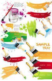 Juego de manchas de colores pintadas con cubeta de vertido y cepillo