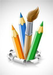 Bleistifte und Pinsel kommen aus dem Boden