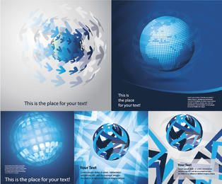 Blue Abstract Earth Themed Background Set