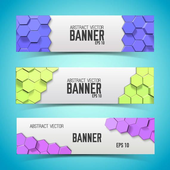 Multicolor Honeycomb Banner Set Template