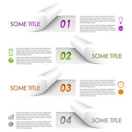 Creative Flip Edge Paper Infographic Set