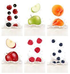 Frutas realistas em leite espirrado