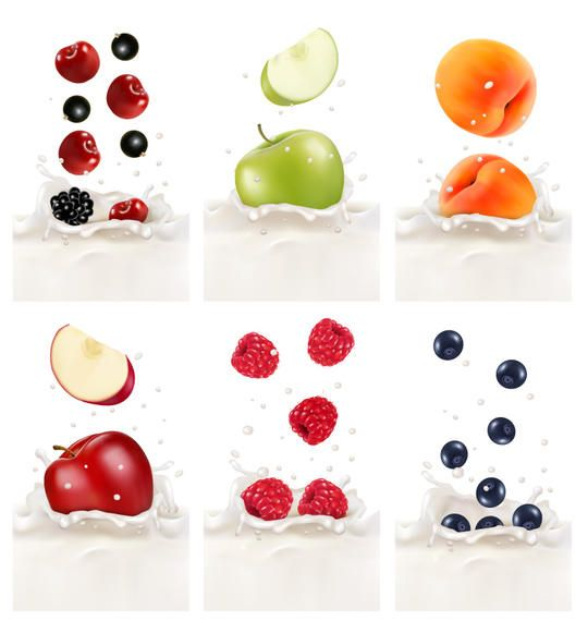 Realistic Fruits in Splashed Milk