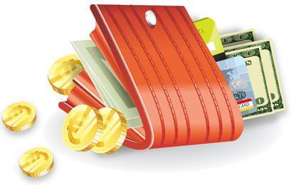 Carteira Fechada com Moedas, Dinheiro e Cartões de Bancos