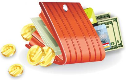 Closed Wallet with Coins, Money and Bank Cards