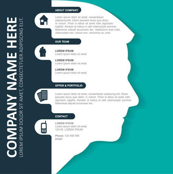 Corporate Infographic Template on Man Face