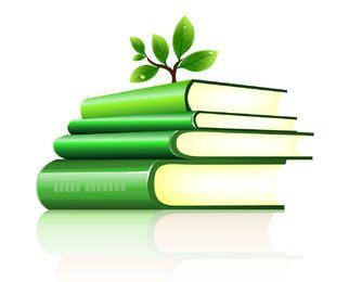 Árvore plantada em uma pilha de livros verdes