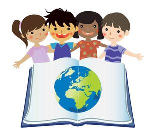 Group Studying Kids with Globe in Open Book