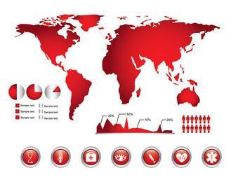 Medicare infográfico com mapa-múndi e gráficos