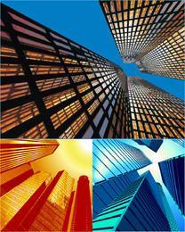 3 edificios de la ciudad hermosa vista abstracta del cielo
