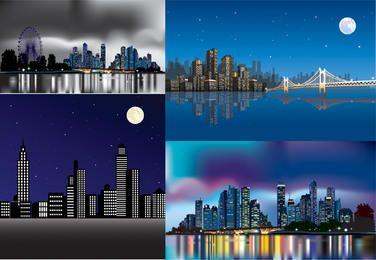 Pacote de cidade abstrata linda à noite