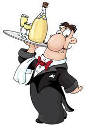 Chef dos desenhos animados carregando garrafa de champanhe e copos